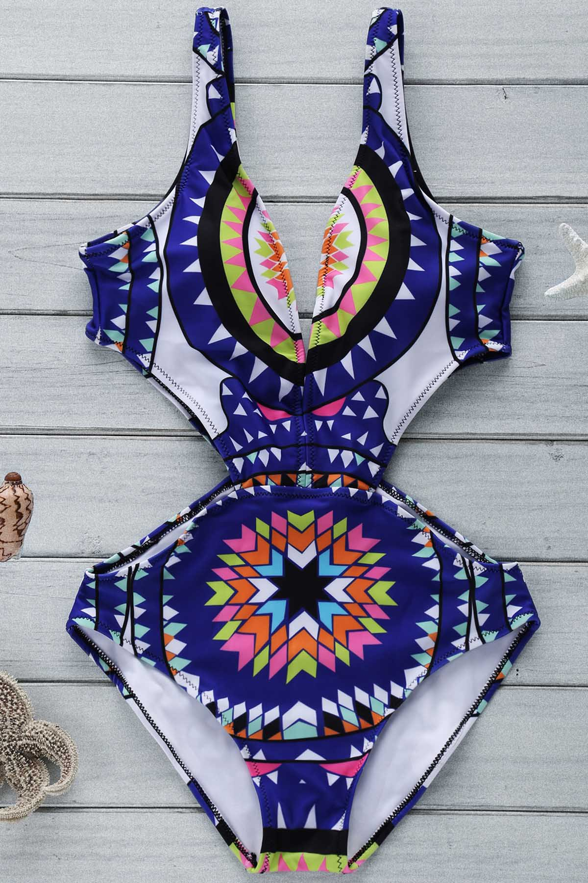 Plunging Neck Geometric Print Cut Out One-Piece Swimwear
