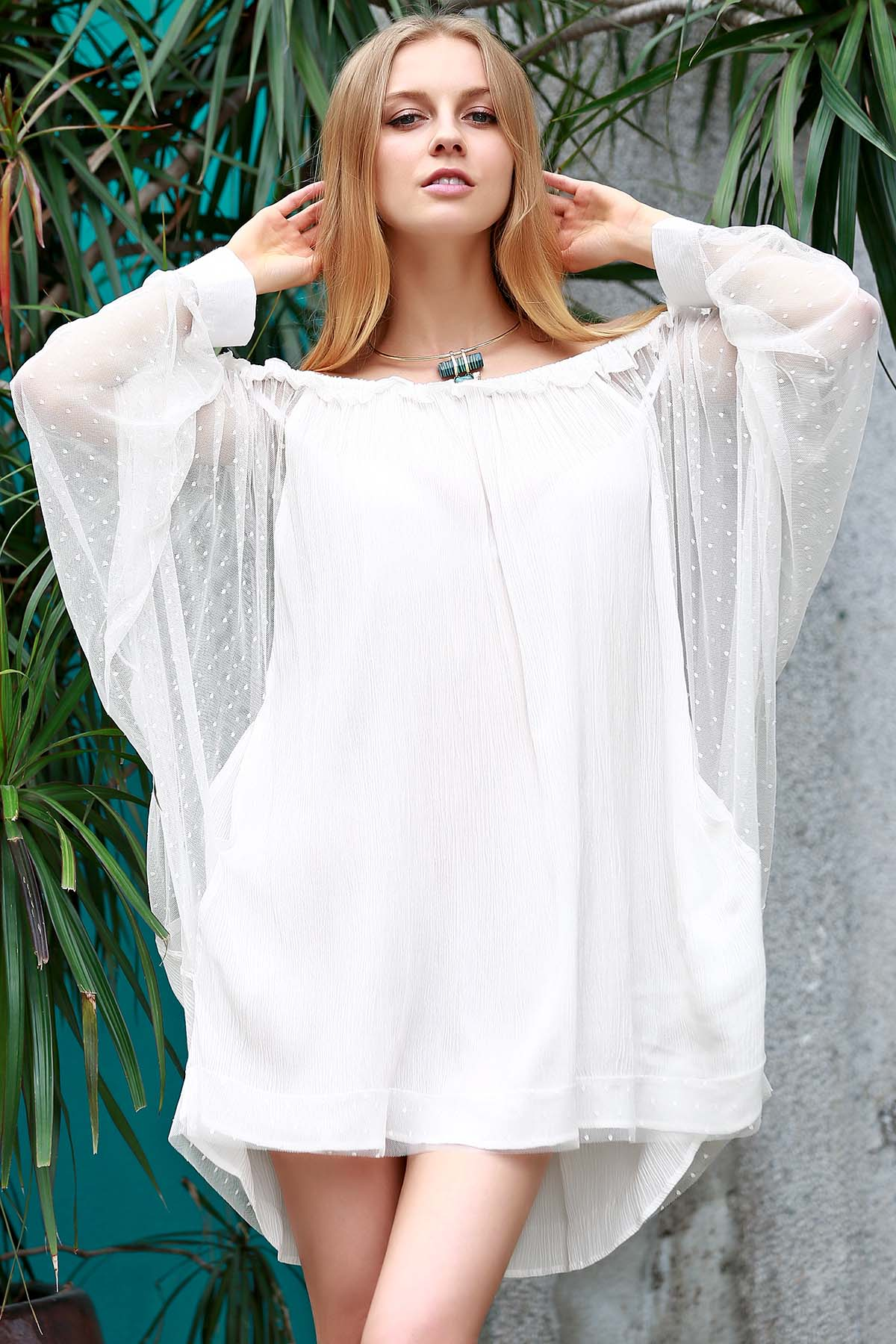 Bat-Wing Sleeve Off The Shoulder Loose See-Through Dress