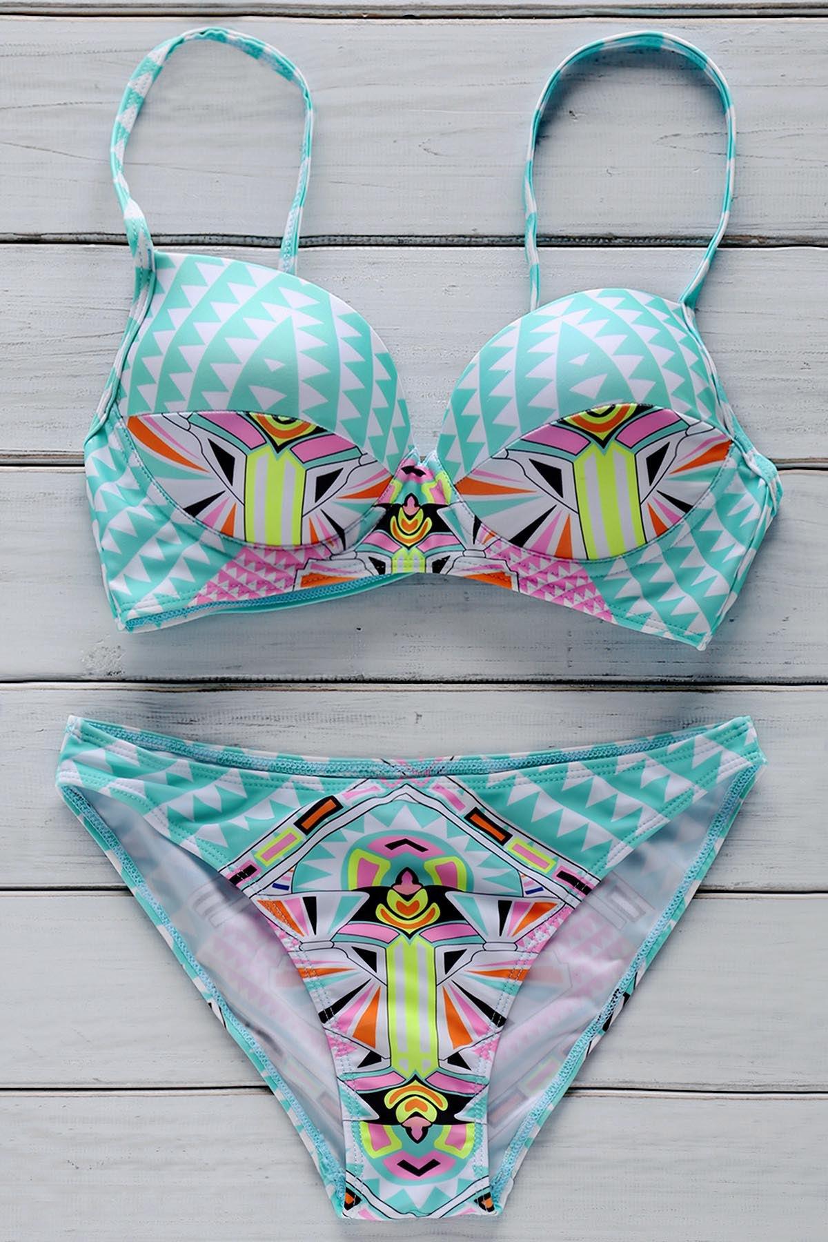 Cami Geometric Print Bikini Set 175158701