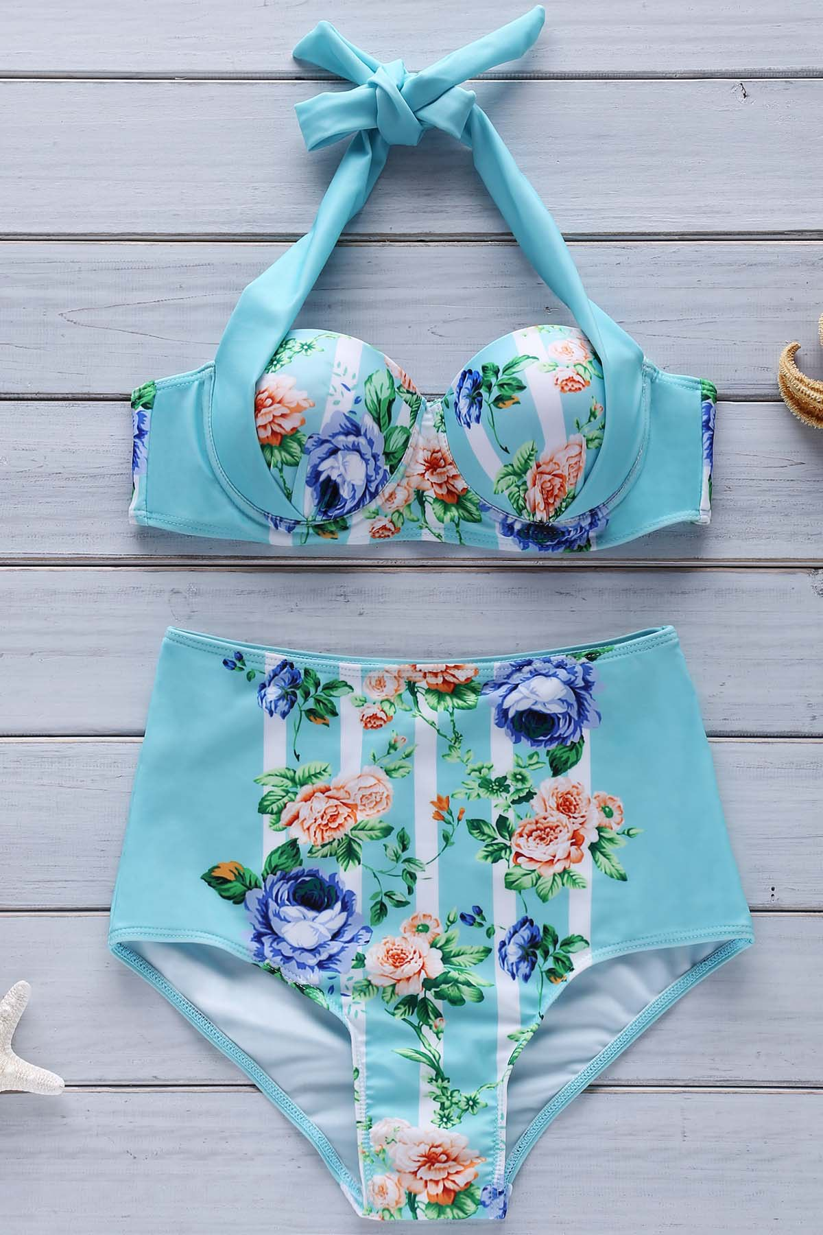 Halter Floral High Waist Bikini Set