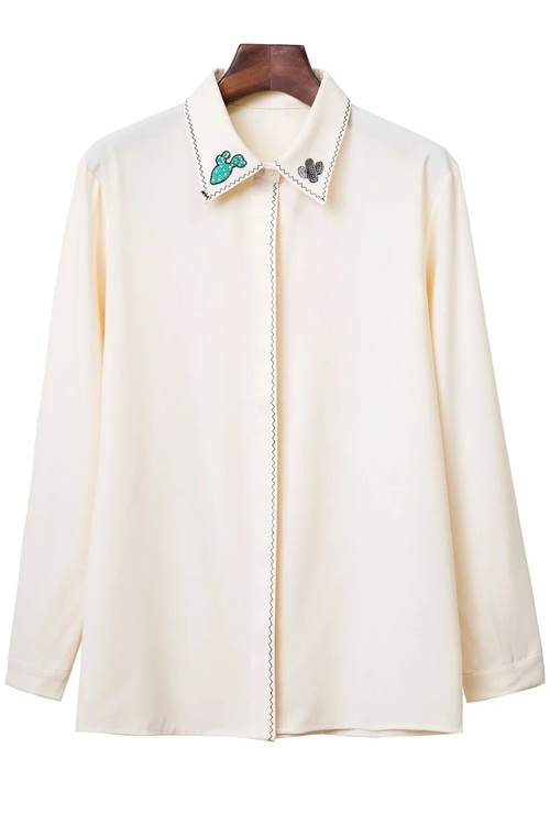Turn Down Collar Long Sleeve Embroidered Shirt