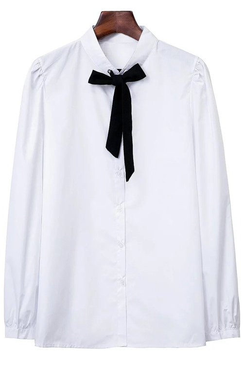 Turn Down Collar Long Sleeve Self Tie Shirt