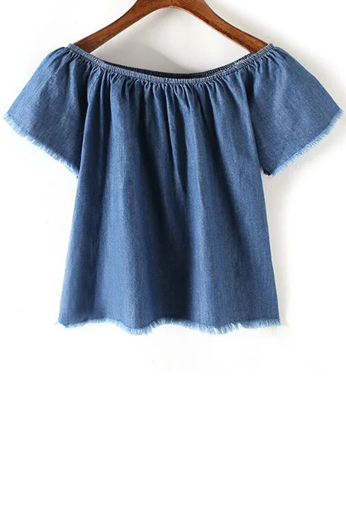 Off The Shoulder Short Sleeve Blue Denim T-Shirt
