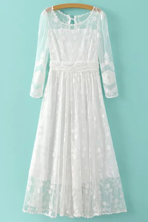 Scoop Neck 3/4 Sleeve White Lace Dress