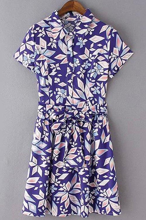Geometric Print Turn Down Collar Short Sleeve Dress