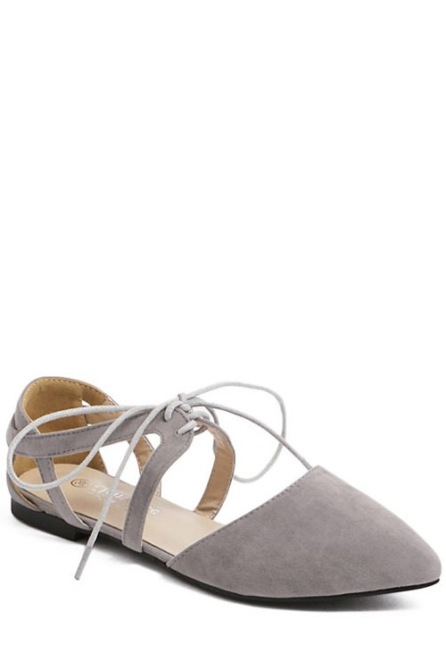 Lace-Up Design Flat Shoes For Women