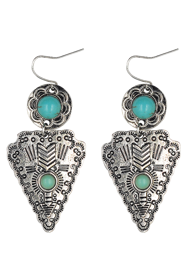 Turquoise Triangle Pendant Earrings