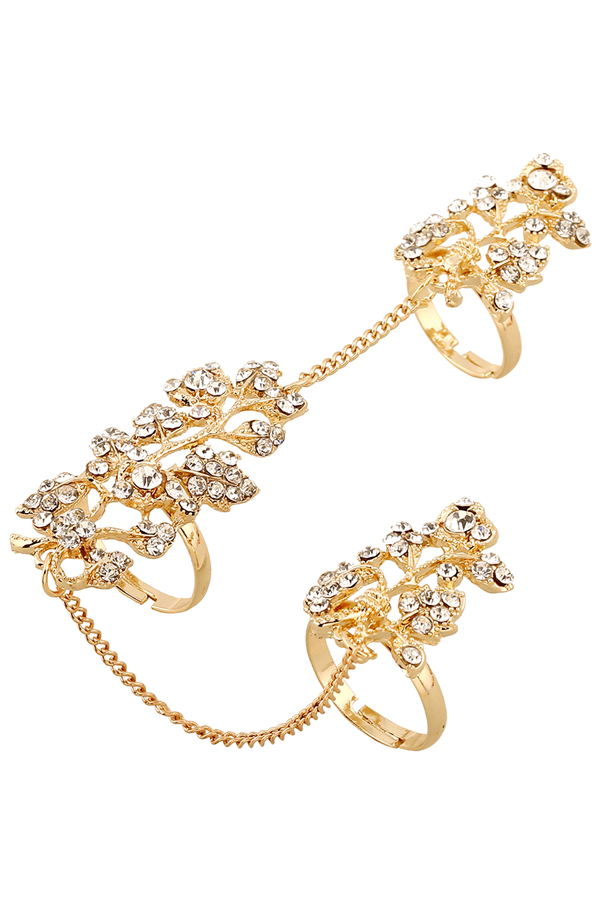 Rhinestone Leaf Shape Ring For Women