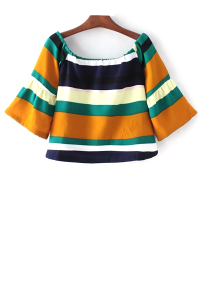 Scoop Neck 3/4 Sleeve Striped T-Shirt