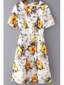 Elegant Flower Print Round Neck Short Sleeve Dress - Yellow S