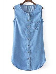 Sleeveless Single-Breasted Denim Dress