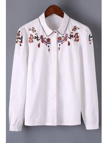 Long Sleeve Embroidered Shirt - White M