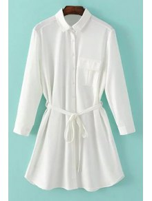 One-Pocket Rolled Sleeve Shirt Dress