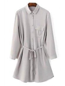 One-Pocket Rolled Sleeve Shirt Dress