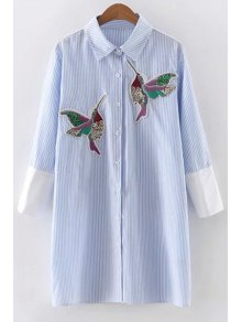 Embroidered Sequins Bird Striped Dress - Blue S