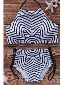 Striped Halter Bikini Set - White And Black