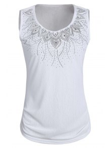 Solid Color Rhinestone Round Neck Tank Top