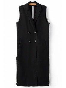 أسود الجانب الشق طية صدر السترة الرقبة أكمام صدرية - أسود M