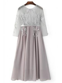 Buy Lace Splice Round Neck 3/4 Sleeve Backless Dress - LIGHT GRAY S