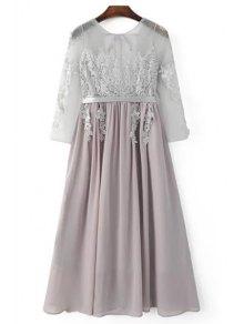Buy Lace Splice Round Neck 3/4 Sleeve Backless Dress - LIGHT GRAY M