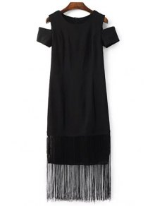 Black Tassels Holloe Out Short Sleeve Dress - Black M