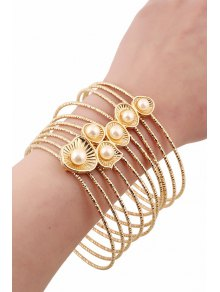 Faux Pearl Multilayered Bracelet - Golden