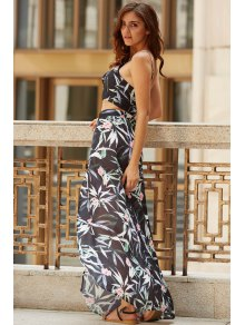 Cami Tropical Two Piece Prom Dress - Black M
