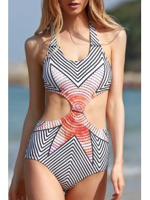 High-Neck Striped One-Piece Swimwear - White M