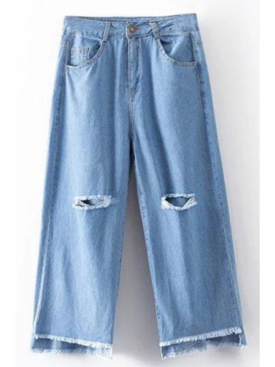 Roto agujero de cintura alta pierna ancha de los pantalones vaqueros - Azul claro M