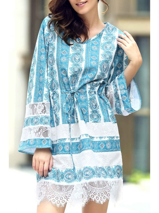 chic Loose Lace Spliced V Neck Flare Sleeve Dress - AZURE XL