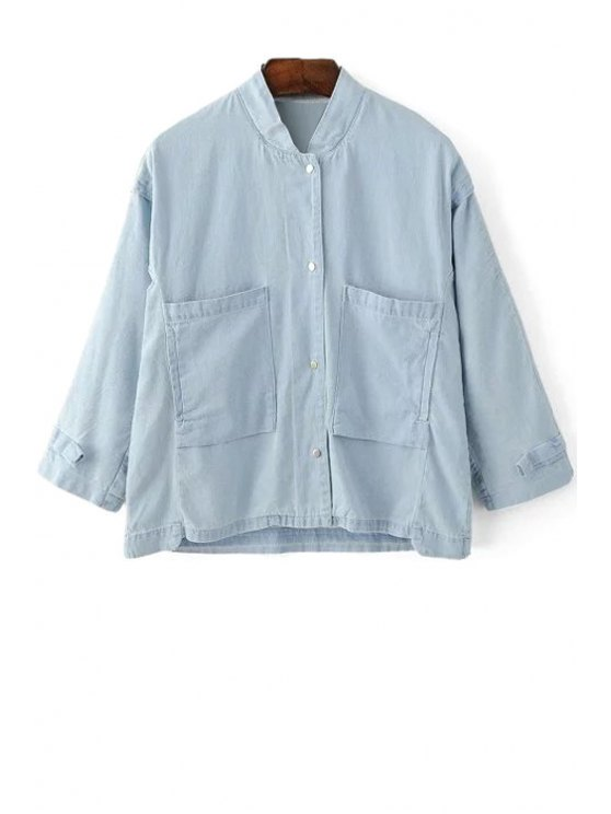 online Loose Pockets Stand Collar 3/4 Sleeve Denim Shirt - LIGHT BLUE M