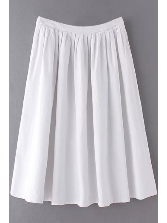 Solid Color High Waist A-Line Pleated Skirt WHITE: Skirts L | ZAFUL