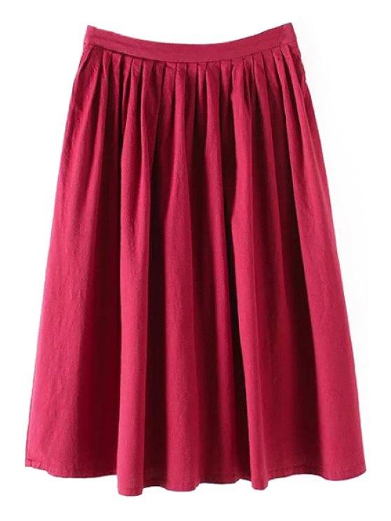Color sólido de alta cintura una línea de Falda plisada - Rojo M