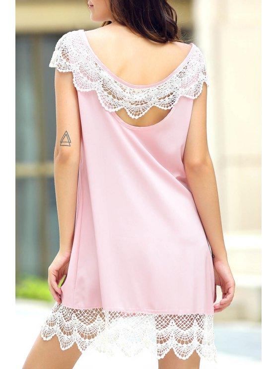 فستان الشمس بلا أكمام دانتيل الحاشية - زهري S