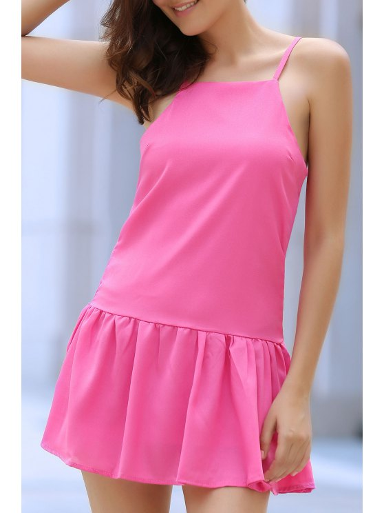 Solid Color Cami Ruffles Dress - PINK M Mobile