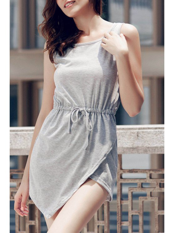 Gray Round Neck Sleeveless Bodycon Sundress - GRAY L Mobile