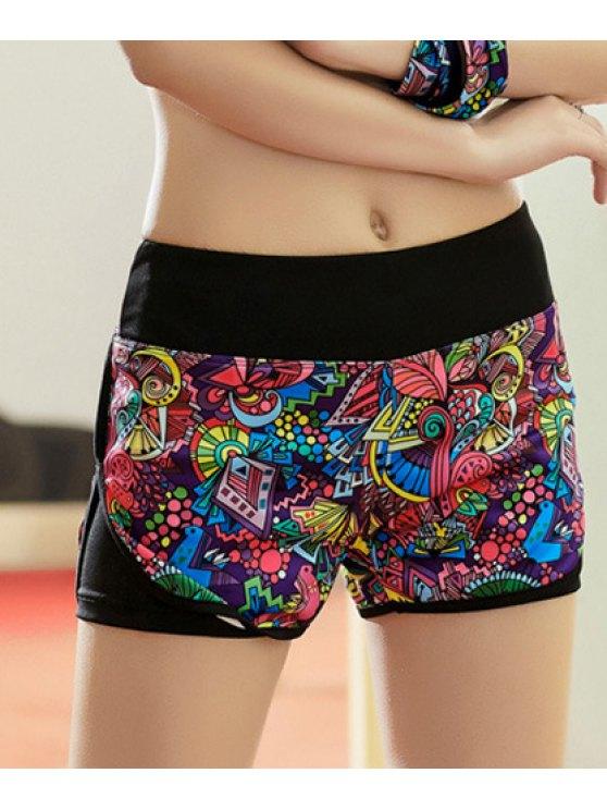 Style Active taille élastique colorés Shorts Yoga imprimés pour les femmes - Multicolore S
