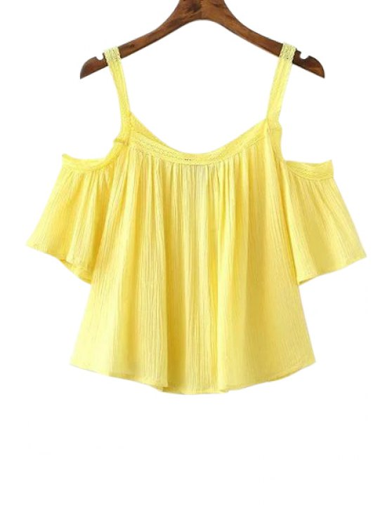 affordable Cold Shoulder Flowy Blouse - YELLOW M