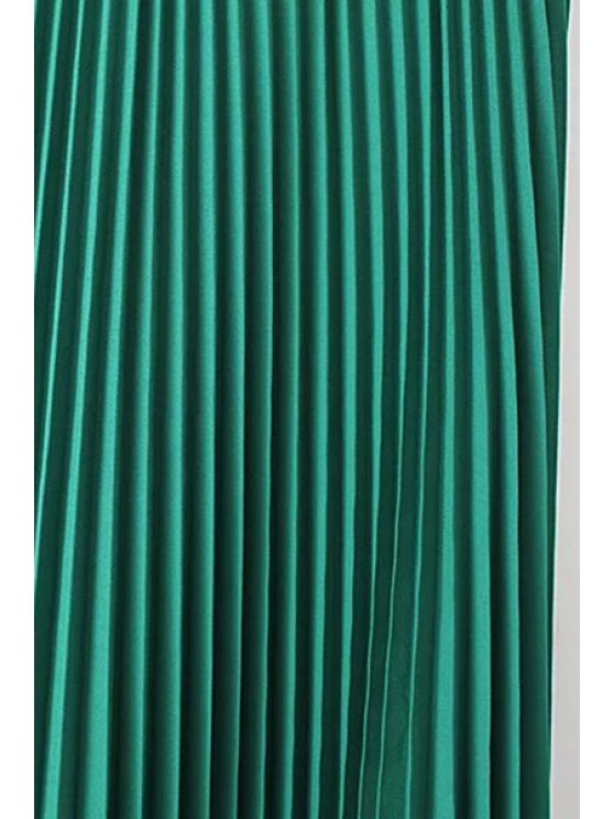 Solid Color High Waist Pleated Skirt - BLACK L Mobile
