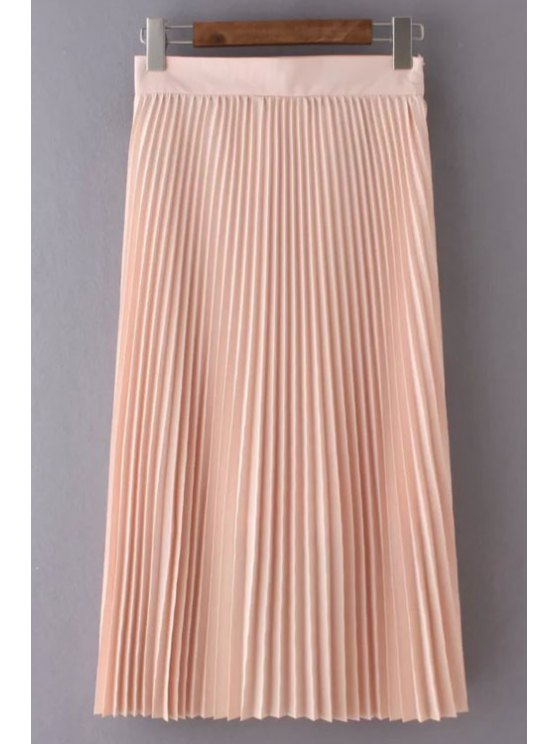 fashion Solid Color High Waist Pleated Skirt - LIGHT PINK M