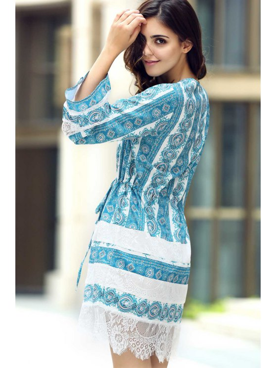 Loose Lace Spliced V Neck Flare Sleeve Dress - AZURE XL Mobile