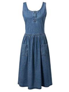 Fitting Pockets Scoop Neck Sleeveless Denim Dress - Blue S