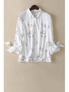 Fawn Print Shirt Collar Long Sleeve Shirt - White L
