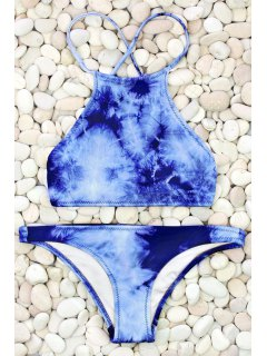 Tie Dye High Neck Bikini Set - Blue M