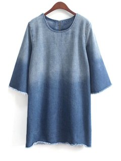 Ombre Round Collar 3/4 Sleeve Dress - Blue
