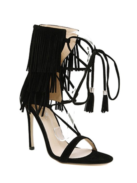 women Fringe Lace-Up Stiletto Heel Sandals - BLACK 37 Mobile