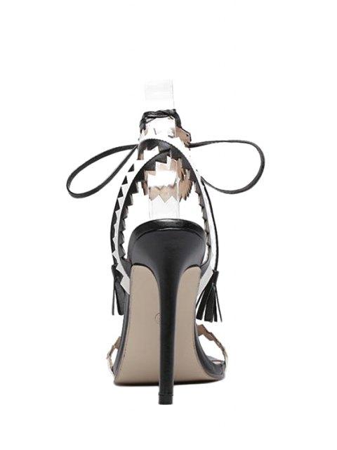 sale Zigzag Pattern Color Block Cross-Strap Sandals - BLACK 39 Mobile