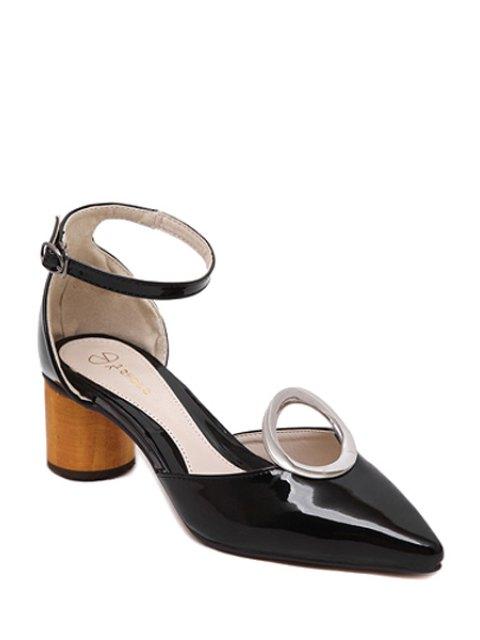 buy Ankle Strap Metal Chunky Heel Pumps - BLACK 35 Mobile