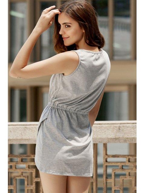 shop Gray Round Neck Sleeveless Bodycon Sundress - GRAY L Mobile