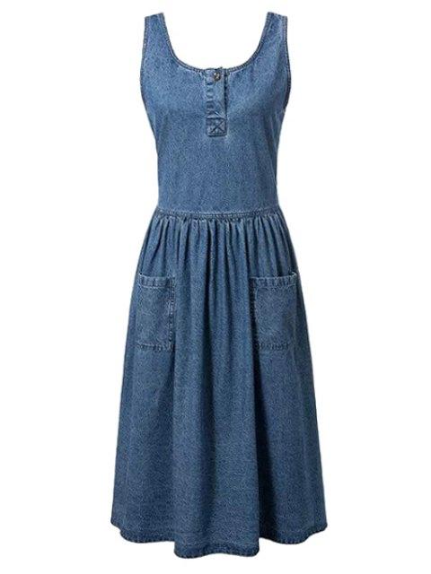 latest Fitting Pockets Scoop Neck Sleeveless Denim Dress - BLUE S Mobile